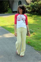 white coca cola shirt - lime green Armani Exchange pants