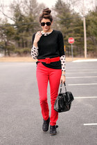 red H&M pants - black boots - black Gap sweater - heart H&M shirt