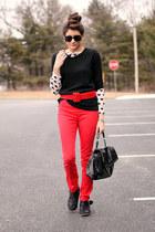 red H&M pants - black boots - black Gap sweater - heart H&M shirt