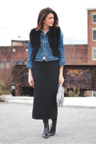 denim jacket - black vest - scuba vintage skirt