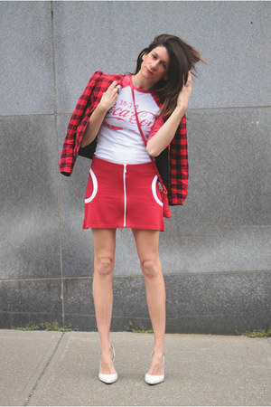 red vintage jacket - red H&M skirt - coca-cola t-shirt
