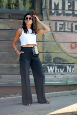 white H&M top - black Stella McCartney pants