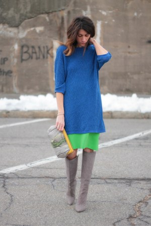 blue H&amp;M sweater - heather gray brian atwood boots - jess rizzuti bag
