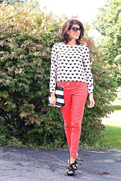 hearts H&M shirt - salmon H&M pants - black Kenneth Cole heels