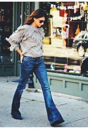 heather gray fringe Choies sweater - blue 7fam jeans