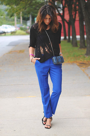 black shirt - blue Vince Camuto pants
