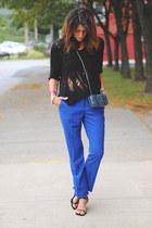 black shirt - blue Vince Camuto pants