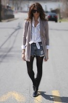 heather gray Anthropologie jacket - Levis shorts