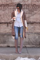 ivory banana republic coat - heather gray brian atwood boots