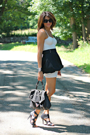 ivory slip dress - black skirt - black Miss Sixty heels