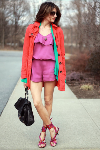 carrot orange jacket - light purple romper - aquamarine cardigan