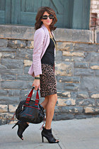 leopard print skirt - light pink Anthropologie cardigan - black BCBG heels