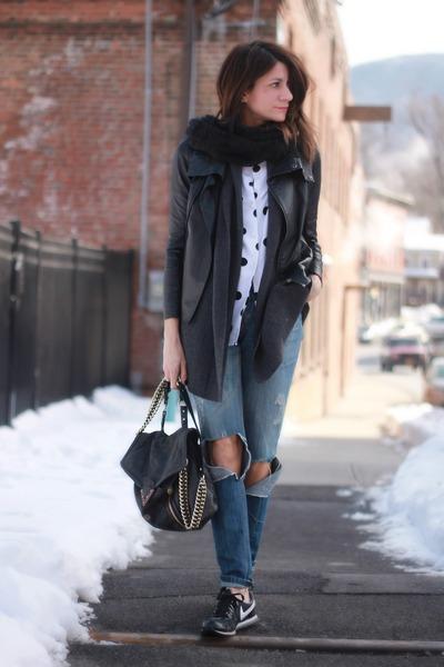 black leather jacket - polka dot thrifted vintage shirt - nike sneakers