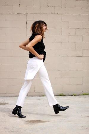 black Zara boots - black Diesel sweater - cream Givenchy pants
