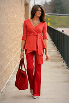 Anthropologie sweater - red Zara pants - silver tano heels