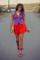 purple Armani Exchange vest - carrot orange Forever 21 skirt