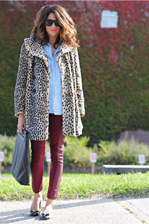 animal print coat - maroon leggings - black acne bag