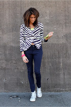 zebra stripe jacket - navy pants - silver ASH sneakers - hot pink JCrew bracelet