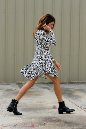black Zara boots - dalmation Choies dress