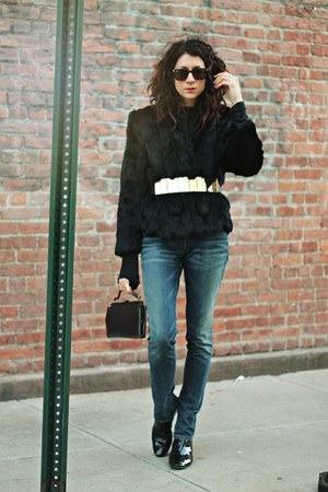 black fur vintage coat