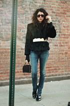 black fur vintage coat