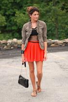 carrot orange Forever 21 skirt - olive green united colors of benetton jacket