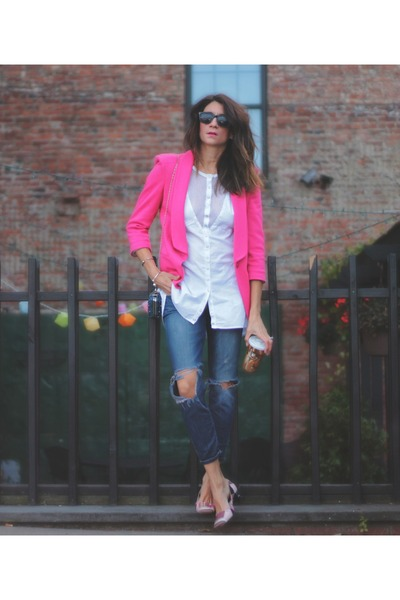 hot pink asos blazer - Emilio Pucci shoes
