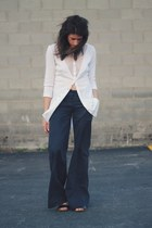 white shirt - navy donna karen pants