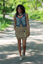 denim vest - metallic shoes - light brown skirt
