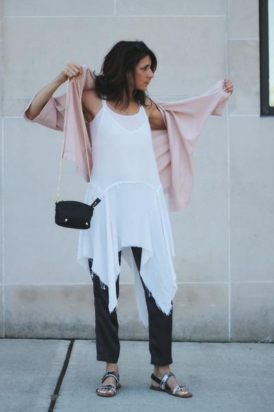 white thrifted top - light pink kimono asos top - charcoal gray vince pants