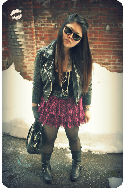 black H&M jacket - black JCrew top - pink Necessary Objects skirt - black Steve