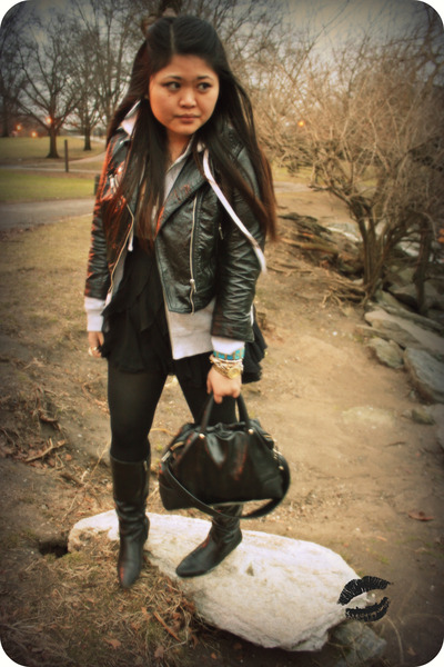 black H&M jacket - gray boyfriends - black Forever21 skirt - black kate spade ac