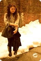 gray Ellen Tracy jacket - black H&M dress - dark gray kate spade bag - black H&M