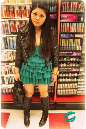 green H&M dress - black H&M jacket - black kate spade accessories - gold kate sp