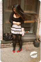 white Forever 21 skirt - black ann taylor cardigan - red Nine West shoes - black