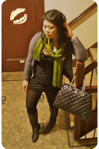 gray Ellen Tracy cardigan - black Forever 21 dress - green Target scarf - black