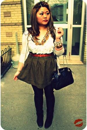black kate spade bag - olive green linen Forever 21 skirt - cream Ellen Tracy to