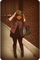 black lace-up Pour La Victoire boots - magenta tweed Ellen Tracy jacket - dark g