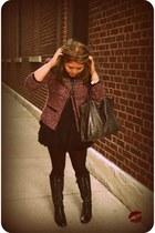 black lace-up Pour La Victoire boots - magenta tweed Ellen Tracy jacket - dark g