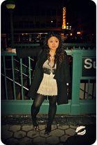 gold Prada shoes - black kate spade coat - black Rachel by Rachel Roy accessorie