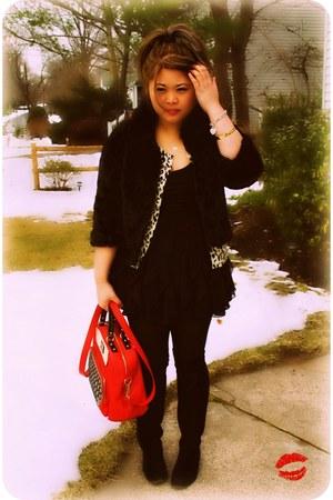 black suede otk Nine West boots - black ruffle Forever 21 dress - black acrylic
