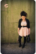 pink H&M dress - black H&M blazer - black kate spade accessories - black kate sp