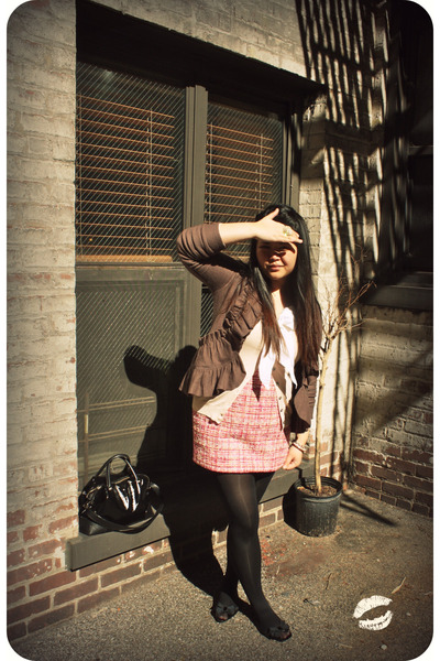 pink Ellen Tracy skirt - white H&M top - brown Charlie & Robin sweater - beige H
