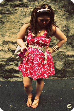 hot pink printed Forever 21 dress - gold kate spade bag