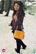 magenta tweed Ellen Tracy jacket - mustard kate spade bag
