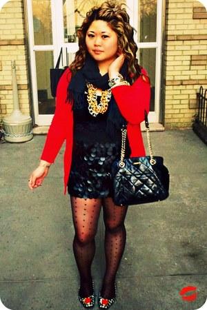 black kate spade bag - black H&M skirt - black kate spade flats