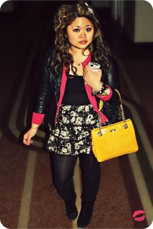 black leather Forever 21 jacket - mustard kate spade bag - hot pink banana repub