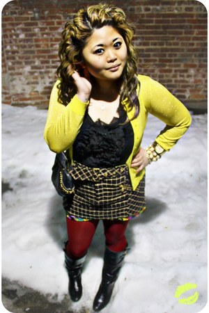 black chain strap rachel rachel roy bag - black tweed rachel rachel roy skirt -