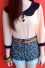 Navy-floral-the-stylogist-shorts-nude-collar-wagw-top