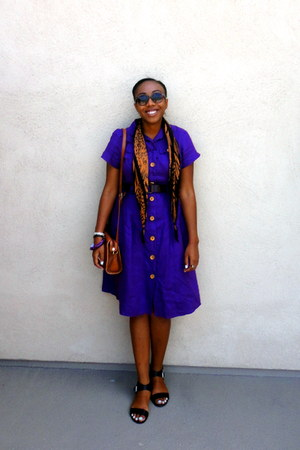 purple shirt dress dress - brown leopard print scarf - black flat sandals